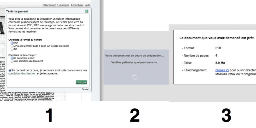 Les principales étapes de la récupération d'un fichier sur Gallica