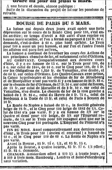 Une portion d'image extraite du Journal des Débats du 6 mars 1845