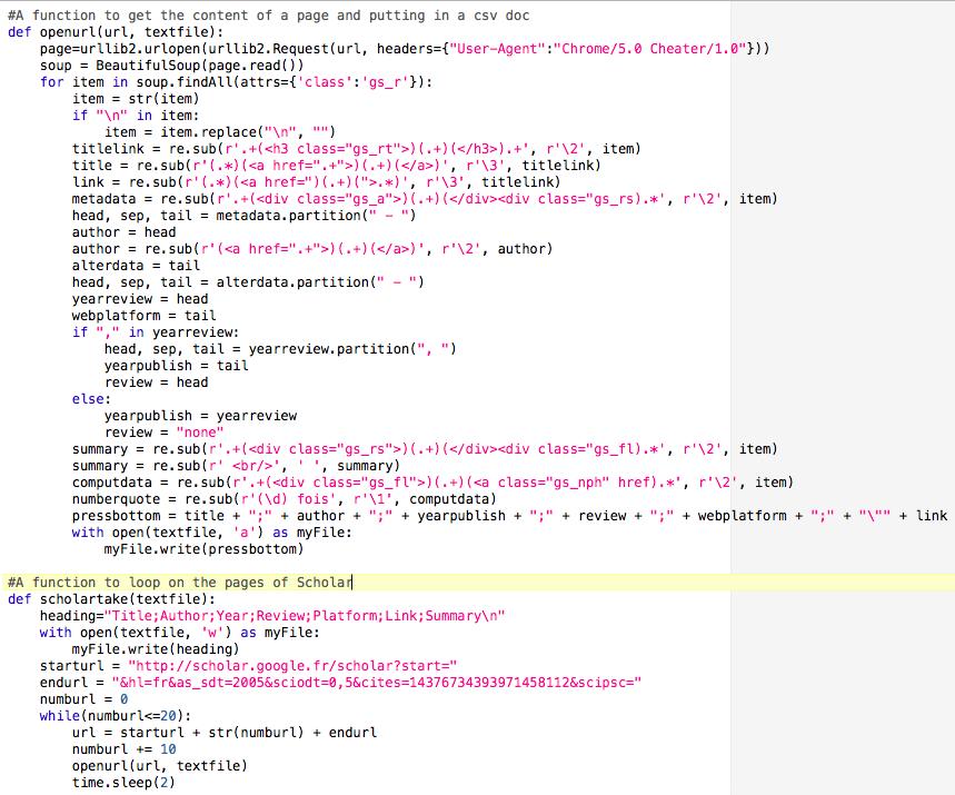 Mon programme d'extraction automatisé, écrit en python…