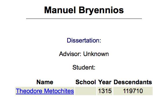 Un exemple de triplet : la fiche de «Manuel Bryennios», sur le Mathematical Genealogy Project